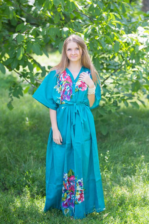 Teal Best of both the worlds Style Caftan in One Long Flower Pattern