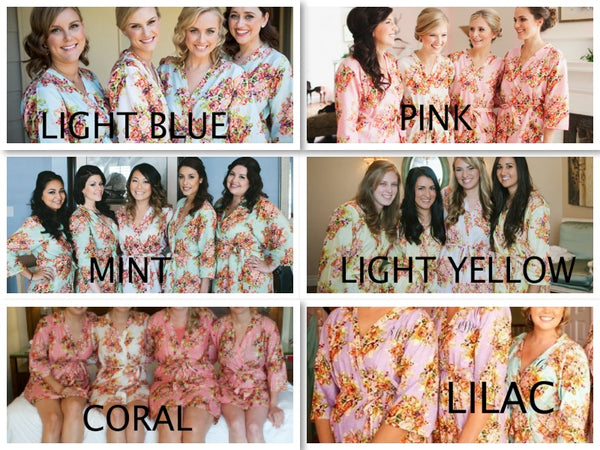 Mismatched Floral Posy Patterned Bridesmaids Robes in Dusty Tones