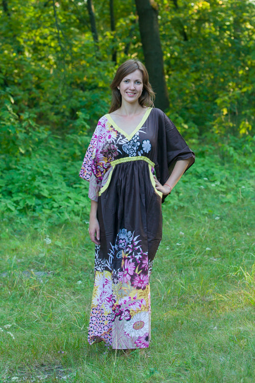 Brown Breezy Bohemian Style Caftan in Vibrant Foliage Pattern