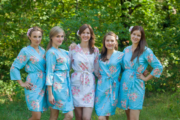 Faded Flowers Pattern Bridesmaids Robes|Blue Faded Flowers Pattern Bridesmaids Robes|Faded Flowers
