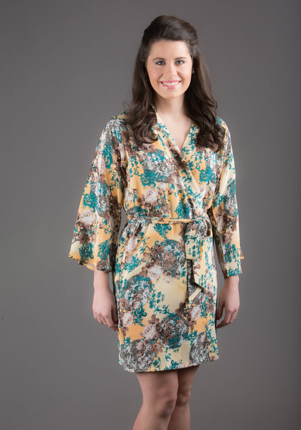 Light Yellow Silk Digital Print Floral Knee Length, Kimono Crossover Belted Robe