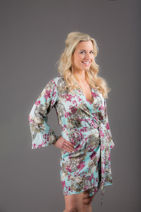 Light Blue Silk Digital Print Floral Knee Length, Kimono Crossover Belted Robe