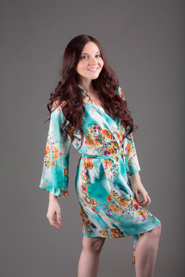 Blue Silk Digital Print Floral Knee Length, Kimono Crossover Belted Robe