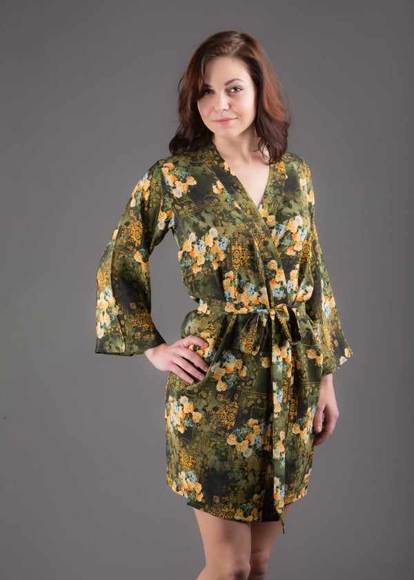 Green Silk Digital Print Floral Knee Length, Kimono Crossover Belted Robe