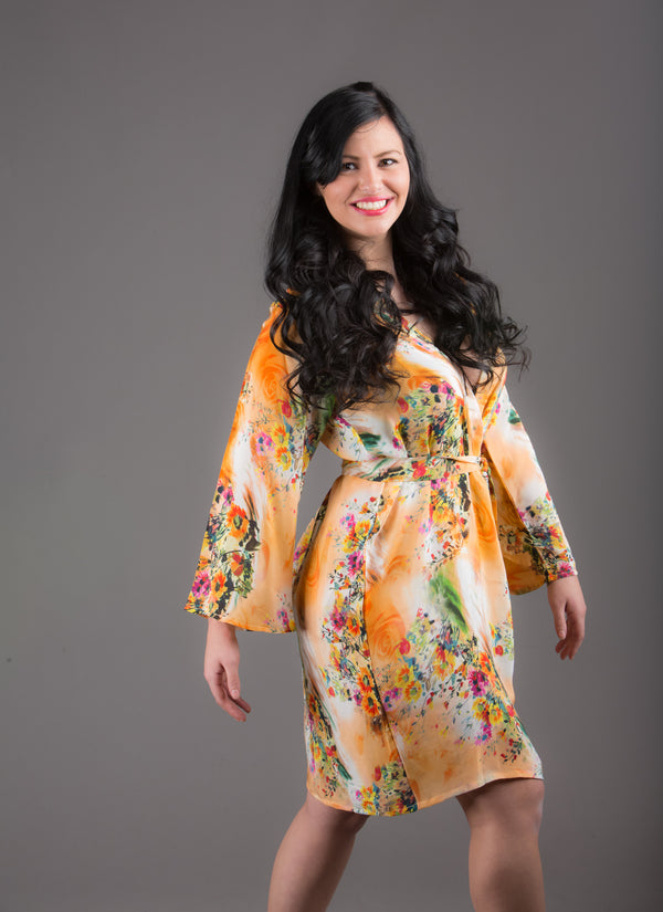 Peach Silk Digital Print Floral Knee Length, Kimono Crossover Belted Robe