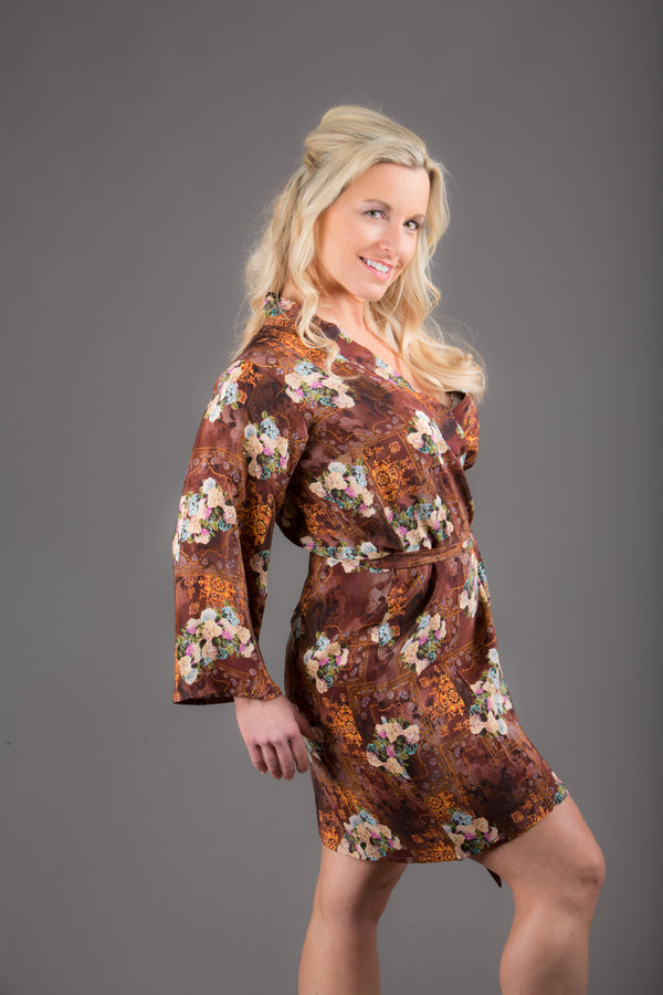 Brown Silk Digital Print Floral Knee Length, Kimono Crossover Belted Robe
