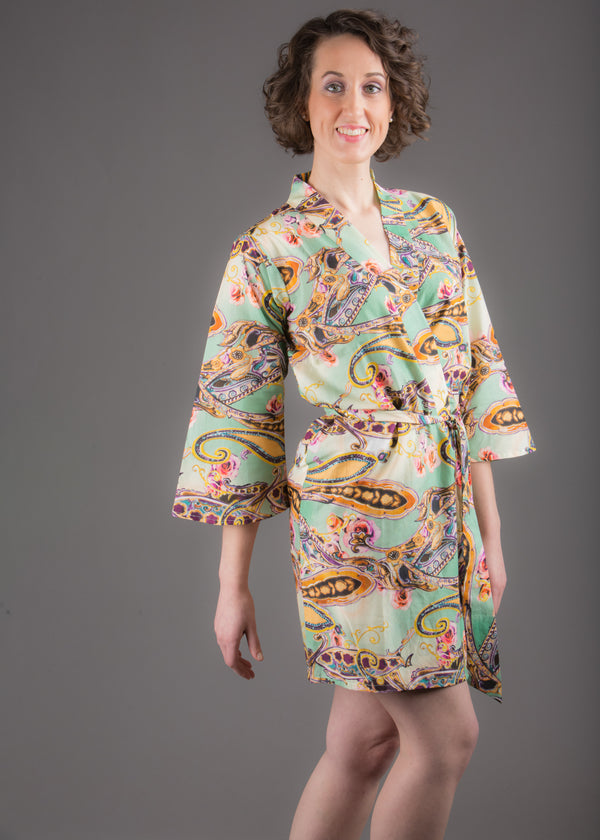 Green Paisley Silk/Cotton Blend Digital Print Floral Knee Length, Kimono Crossover Belted Robe