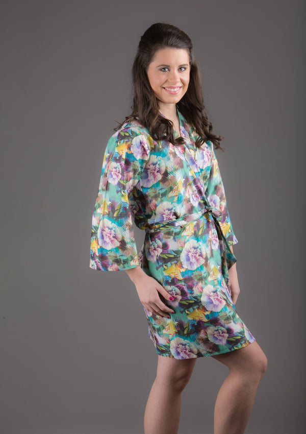 Blue Floral Silk/Cotton Blend Digital Print Floral Knee Length, Kimono Crossover Belted Robe