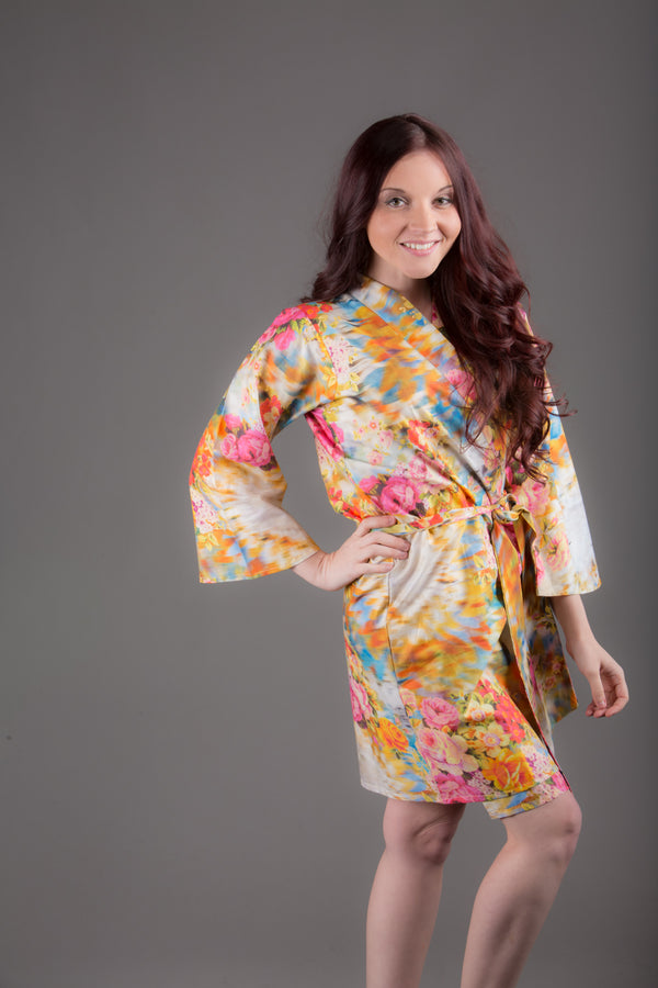 Yellow Floral Silk/Cotton Blend Digital Print Floral Knee Length, Kimono Crossover Belted Robe