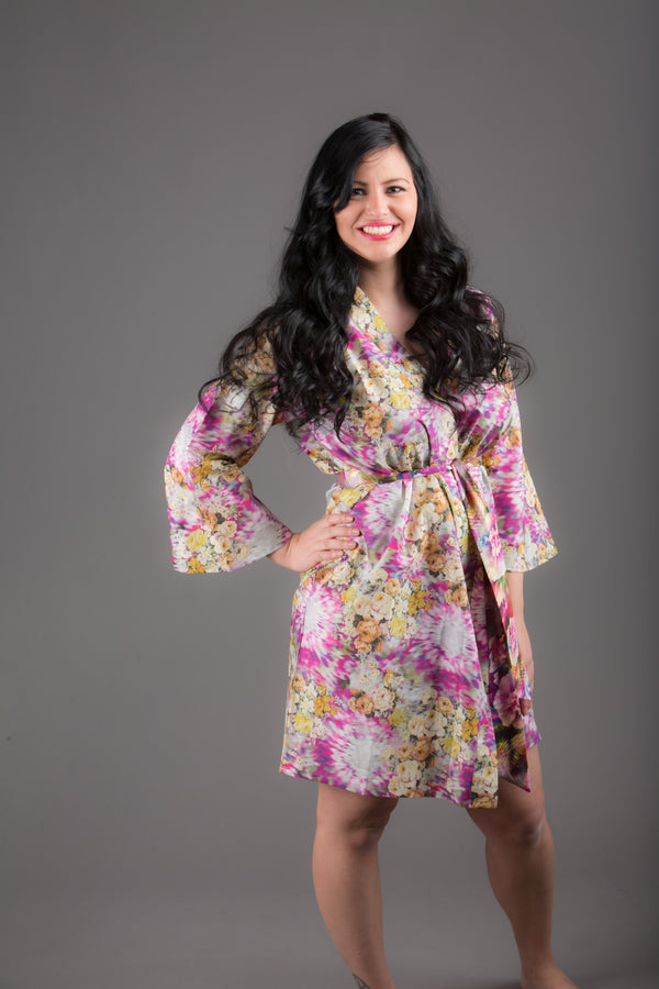 Fuchsia Floral Silk/Cotton Blend Digital Print Floral Knee Length, Kimono Crossover Belted Robe