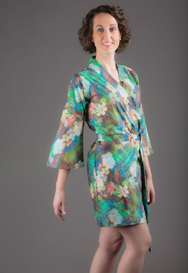 Green Silk/Cotton Blend Digital Print Floral Knee Length, Kimono Crossover Belted Robe