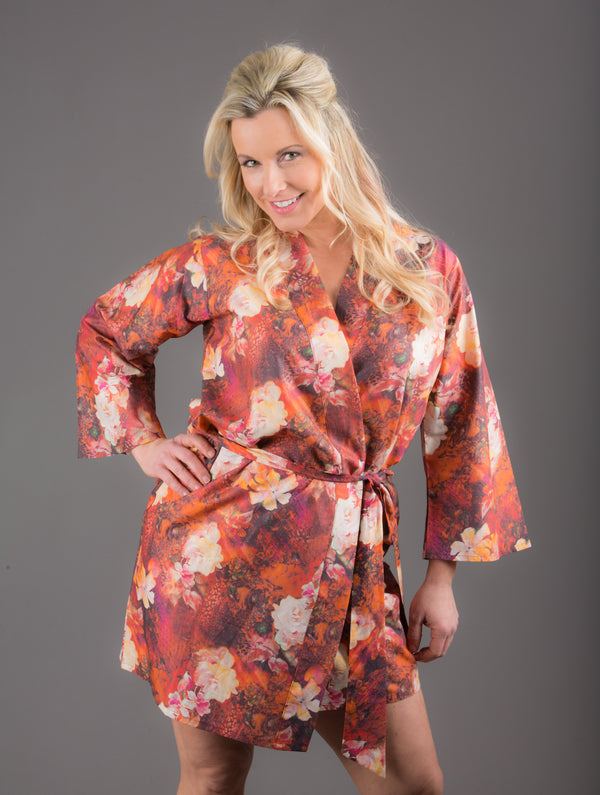 Copper Silk/Cotton Blend Digital Print Floral Knee Length, Kimono Crossover Belted Robe