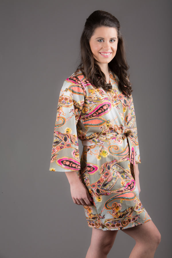 Gray Paisley Silk/Cotton Blend Digital Print Floral Knee Length, Kimono Crossover Belted Robe