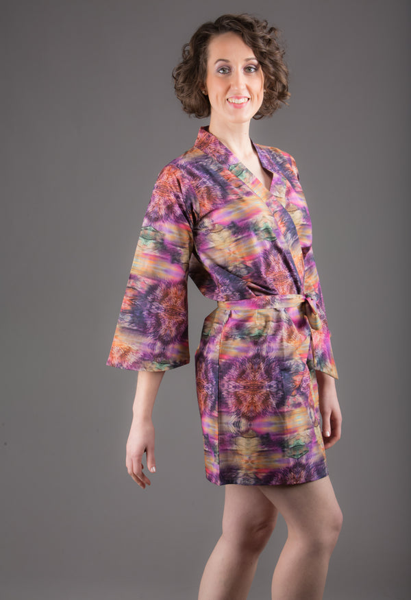 Purple Silk/Cotton Blend Digital Print Floral Knee Length, Kimono Crossover Belted Robe