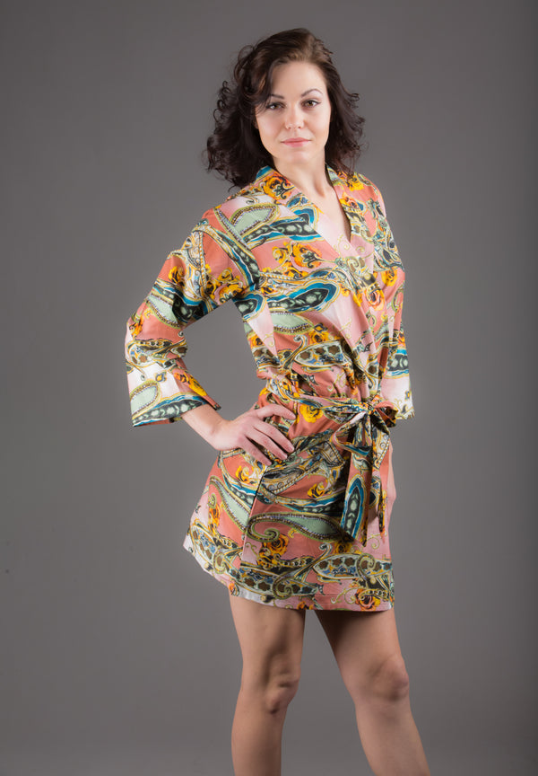 Raspberry Paisley Silk/Cotton Blend Digital Print Floral Knee Length, Kimono Crossover Belted Robe