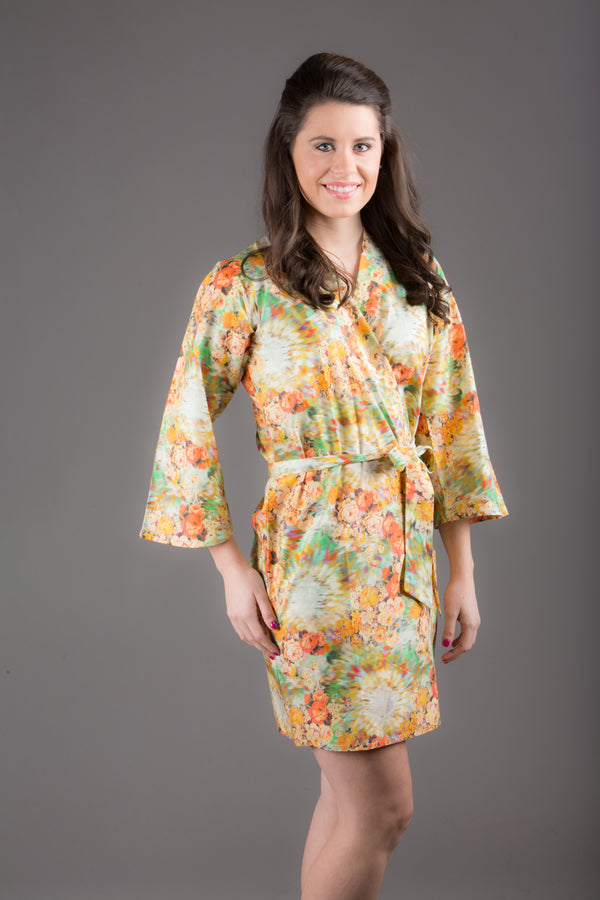 Yellow Silk/Cotton Blend Digital Print Floral Knee Length, Kimono Crossover Belted Robe