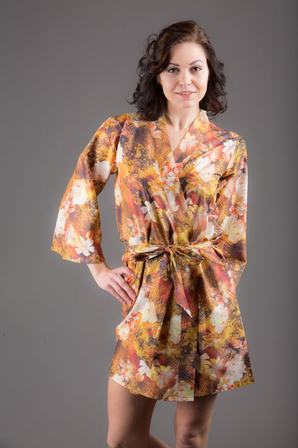 Brown Silk/Cotton Blend Digital Print Floral Knee Length, Kimono Crossover Belted Robe