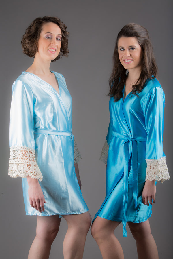 Light Blue Satin Robe with Ivory Lace Accented Cuffs