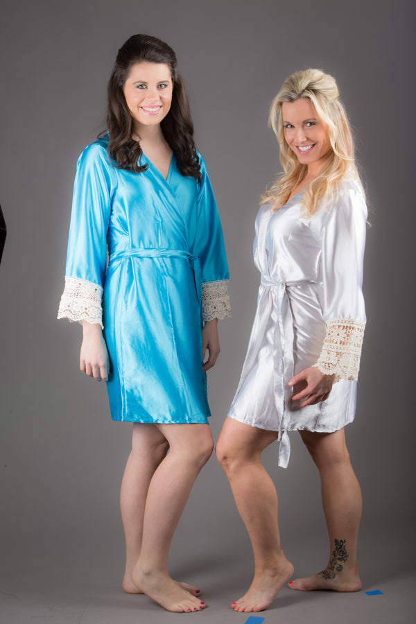 Tiffany Blue Satin Robe with Ivory Lace Accented Cuffs