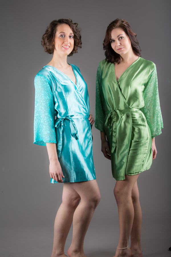 Green Satin Robe with Brasso Sleeves