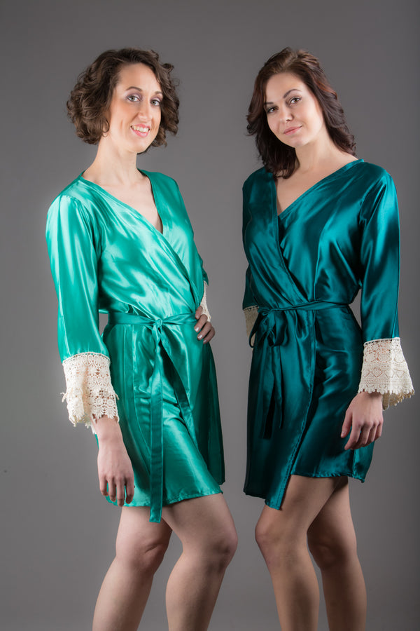 Teal Satin Robe with Ivory Lace Accented Cuffs