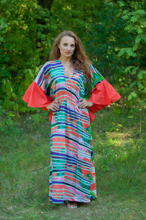 Coral Ballerina Style Caftan in Peacock Plumage