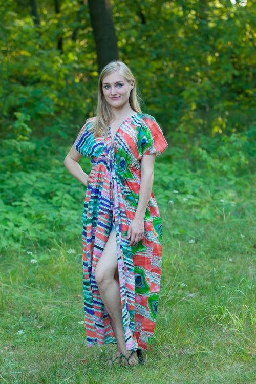 Coral Beach Days Style Caftan in Peacock Plumage