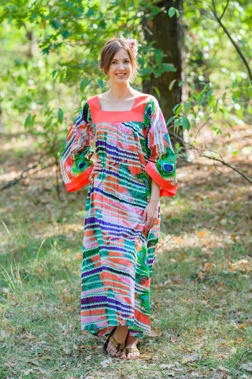 Coral Fire Maiden Style Caftan in Peacock Plumage Pattern