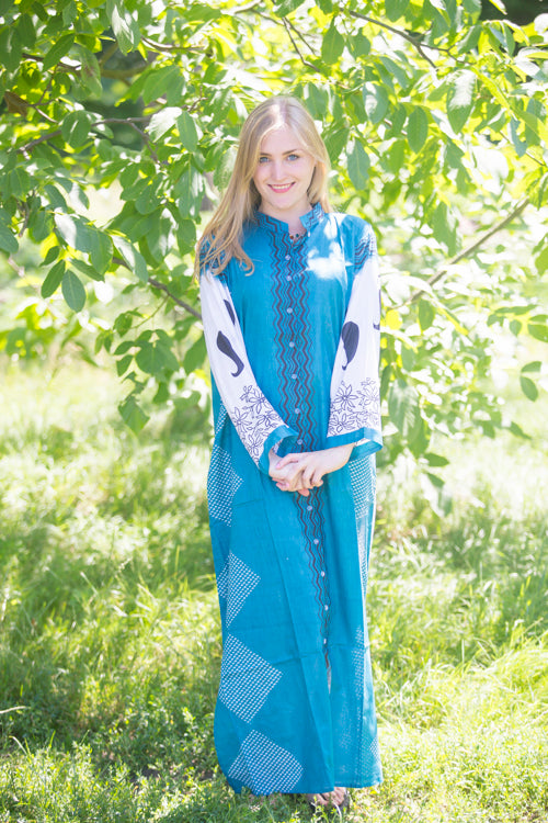 Teal Charming Collars Style Caftan in Perfectly Paisley Pattern