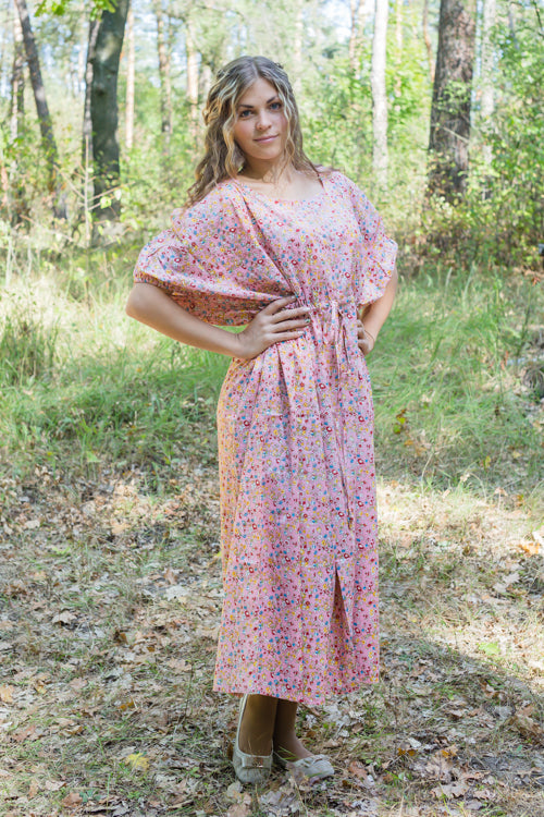 Pink Cut Out Cute Style Caftan in Petit Florals Pattern|Pink Cut Out Cute Style Caftan in Petit Florals Pattern|Petit Florals