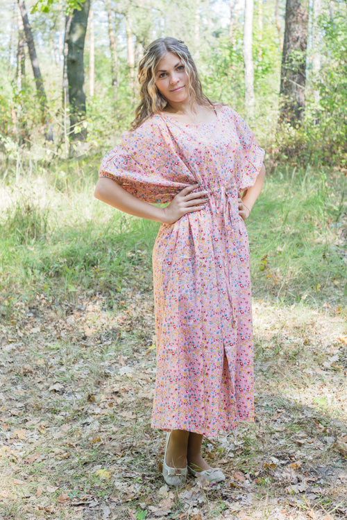 Pink Cut Out Cute Style Caftan in Petit Florals Pattern
