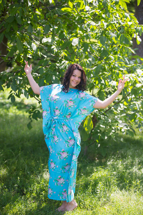 Blue Divinely Simple Style Caftan in Pink Peonies Pattern