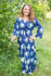 Dark Blue Button Me Down Style Caftan in Pink Peonies Pattern|Dark Blue Button Me Down Style Caftan in Pink Peonies Pattern|Pink Peonies