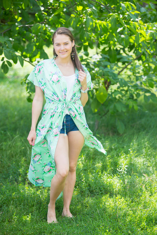 Mint Beach Days Style Caftan in Pink Peonies