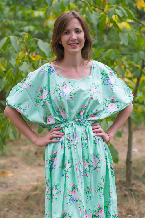 Mint Cut Out Cute Style Caftan in Pink Peonies Pattern