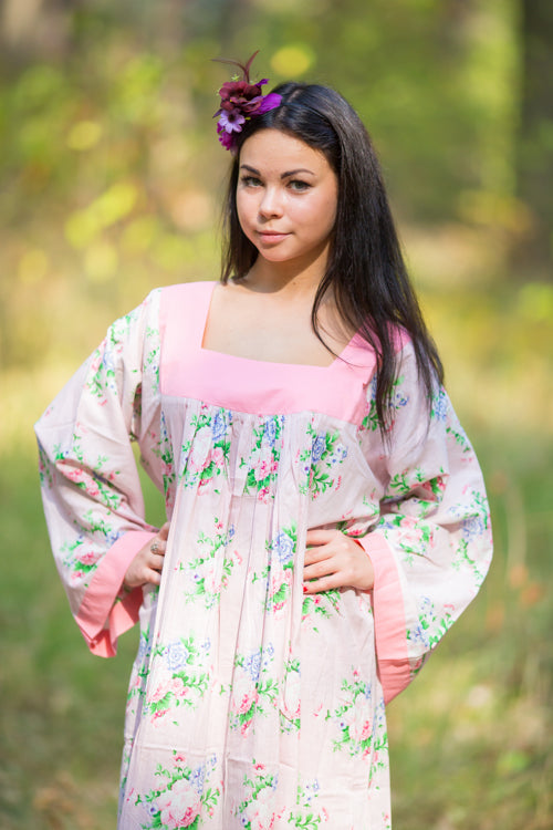 Pink Fire Maiden Style Caftan in Pink Peonies Pattern|Pink Fire Maiden Style Caftan in Pink Peonies Pattern|Pink Peonies