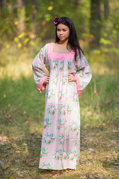 Pink Fire Maiden Style Caftan in Pink Peonies Pattern