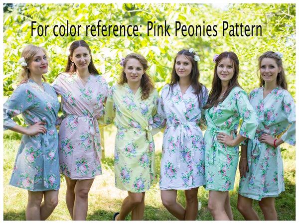Mismatched Pink Peonies Patterned Bridesmaids Robes in Soft Tones
