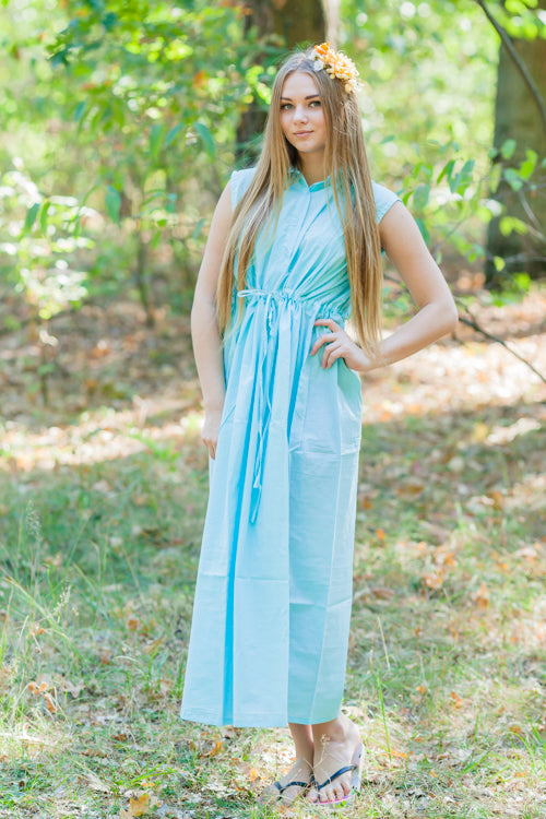 Light Blue Cool Summer Style Caftan in Plain and Simple Pattern|Light Blue Cool Summer Style Caftan in Plain and Simple Pattern|Plain and Simple