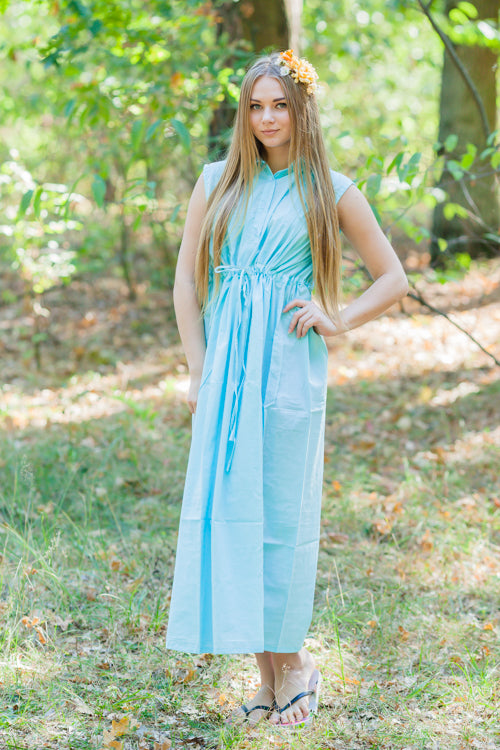 Light Blue Cool Summer Style Caftan in Plain and Simple Pattern