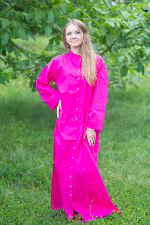Magenta Charming Collars Style Caftan in Plain and Simple Pattern