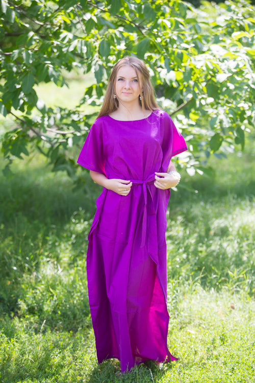 Purple Divinely Simple Style Caftan in Plain and Simple Pattern