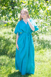 Teal Best of both the worlds Style Caftan in Plain and Simple Pattern