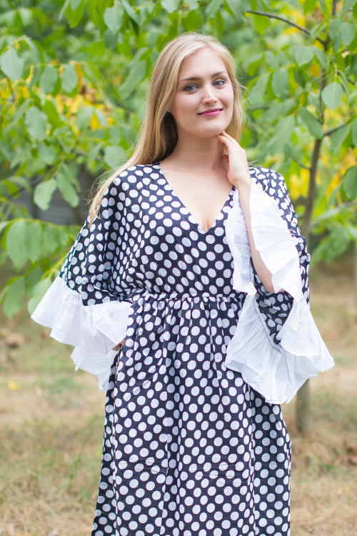 Black Frill Lovers Style Caftan in Polka Dots Pattern