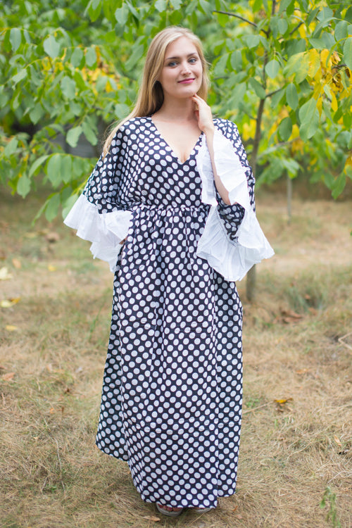 Black Frill Lovers Style Caftan in Polka Dots Pattern|Black Frill Lovers Style Caftan in Polka Dots Pattern|Polka Dots