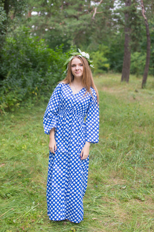 Dark Blue Button Me Down Style Caftan in Polka Dots Pattern
