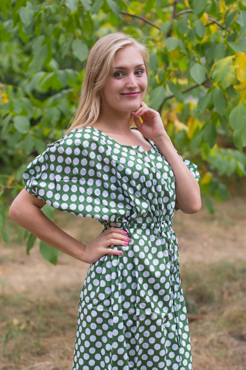 Dark Green Cut Out Cute Style Caftan in Polka Dots Pattern