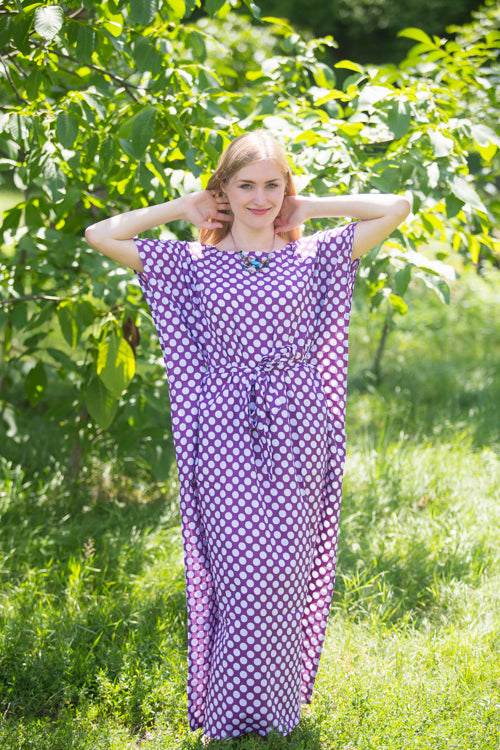 Lilac Divinely Simple Style Caftan in Polka Dots Pattern