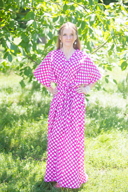 Magenta Best of both the worlds Style Caftan in Polka Dots Pattern|Magenta Best of both the worlds Style Caftan in Polka Dots Pattern|Polka Dots