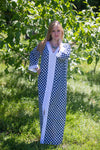 Navy Blue The Glow-within Style Caftan in Polka Dots Pattern